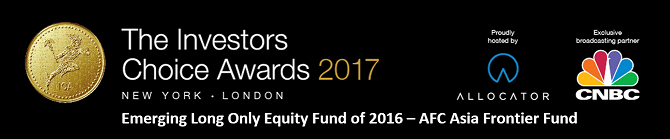Investors Choice Awards - Emerging Long Only Equity Fund of 2016 - AFC Asia Frontier Fund